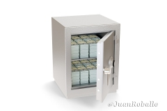 Open safe box full of wad of 100 dollar bills isolated on a white background. 3d illustration.