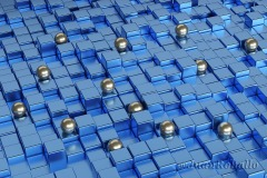 Silver spheres on blue cubes. Abstract design. 3d illustration.