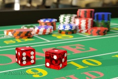 Close up of dice on a craps table. Gambling concept. 3d illustration.