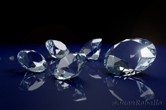 Brilliant diamonds on a blue background. 3d illustration.