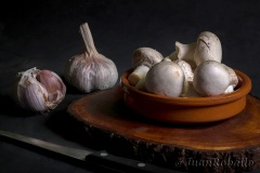 Mushroom and garlic still life